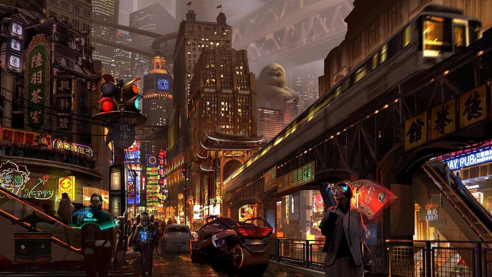 China Futuristic City wallpaper