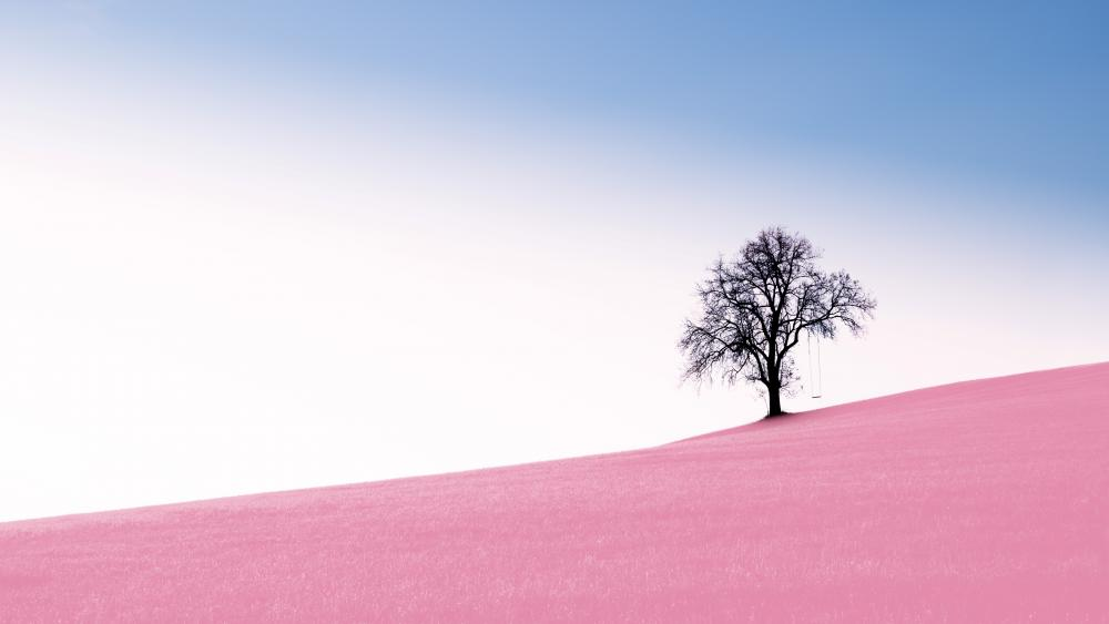 Pink hillside wallpaper