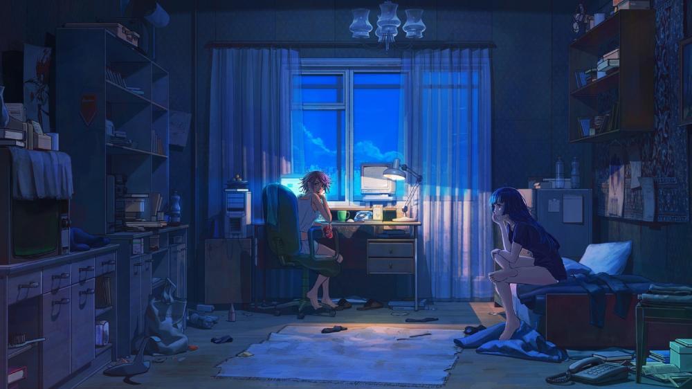 Lofi Anime blue wallpaper