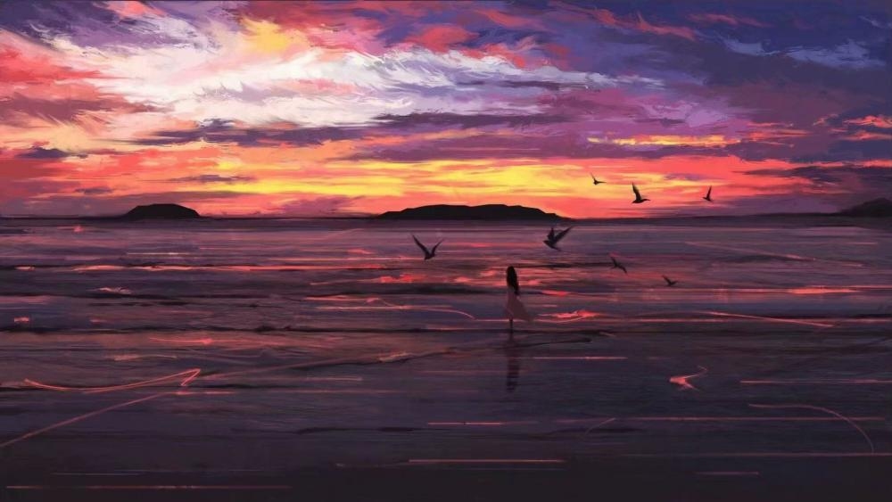 Girl dancing with flying birds at sunset wallpaper