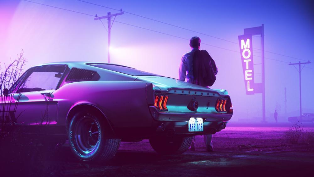 Retro Wave Neon Mustang Driver wallpaper
