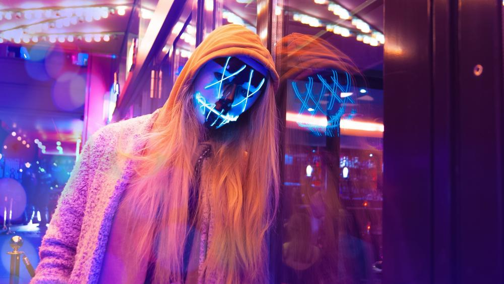 Neon masked chick wallpaper