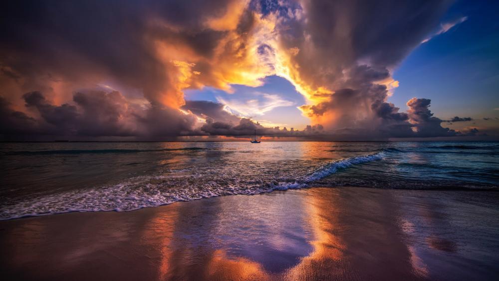 Caribbean sunset wallpaper