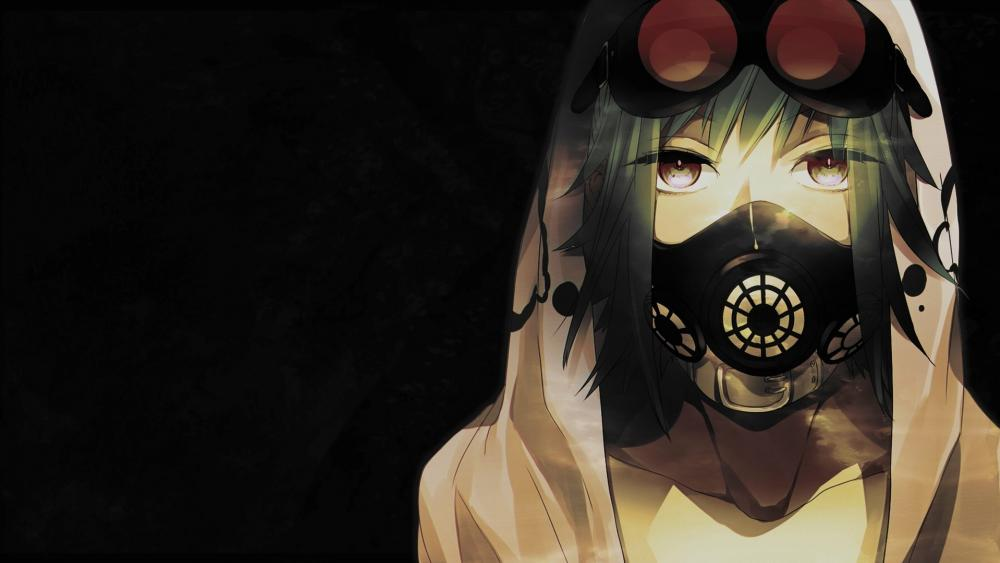 Anime Girl With  Gas Mask wallpaper