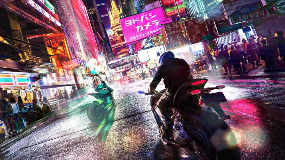 Motorcycle street race by night wallpaper