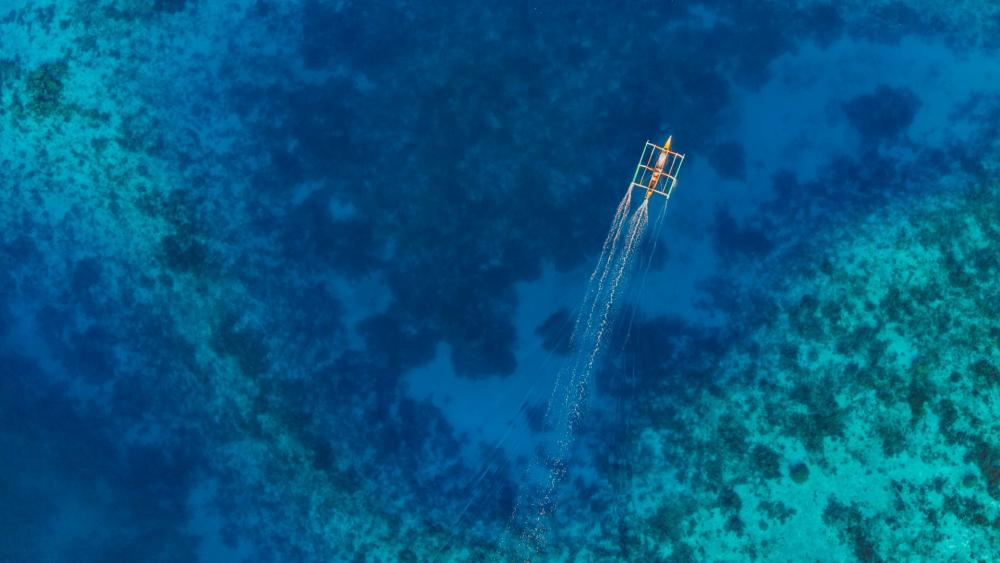 Catamaran on the blue sea from above wallpaper