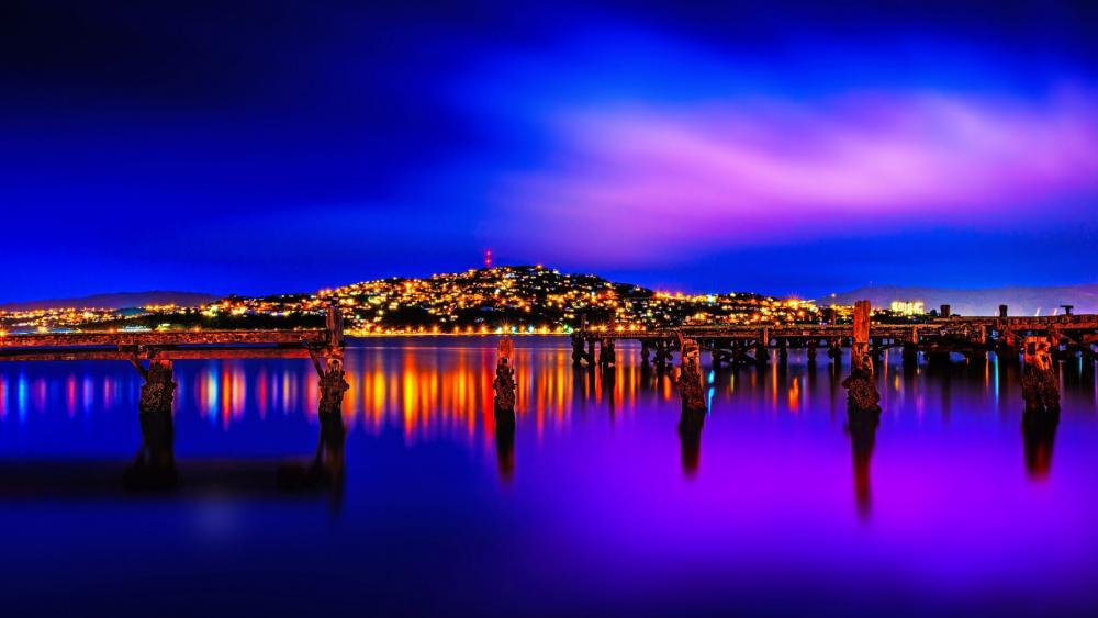Wellington by night wallpaper
