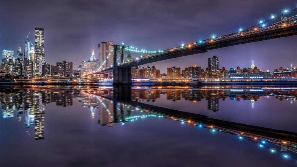 Brooklyn Bridge by night wallpaper
