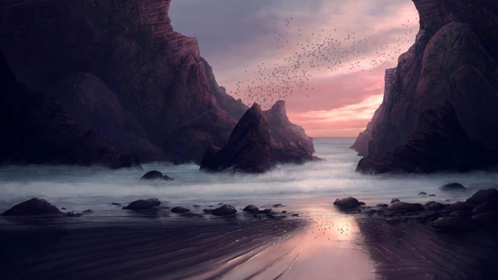 Purple digital seaside landscape wallpaper