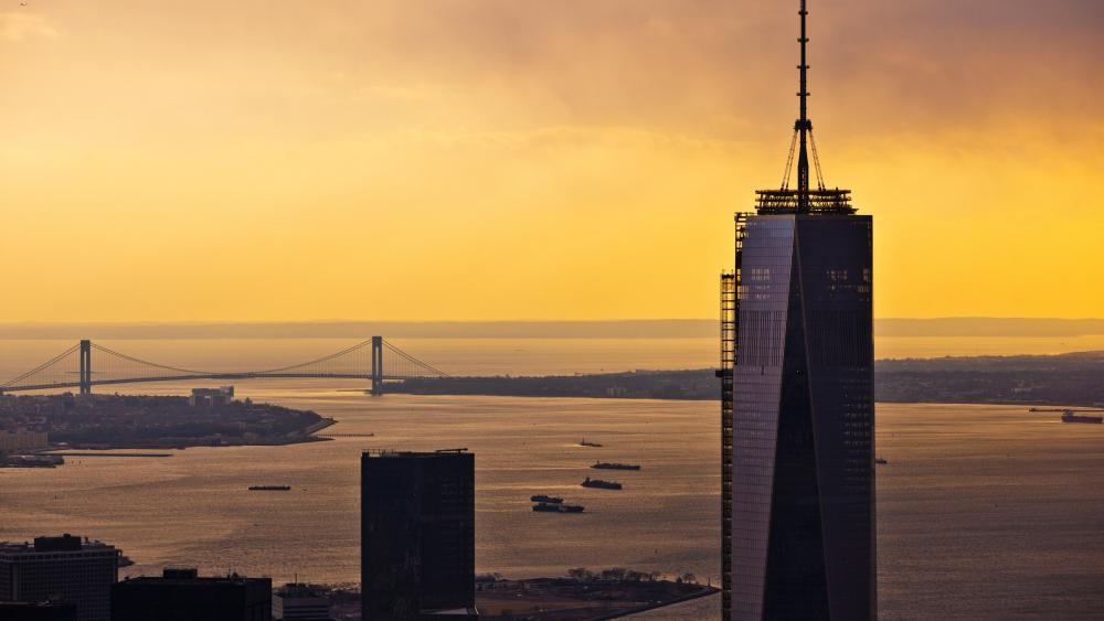 Sunset in New York City at 1 WTC wallpaper