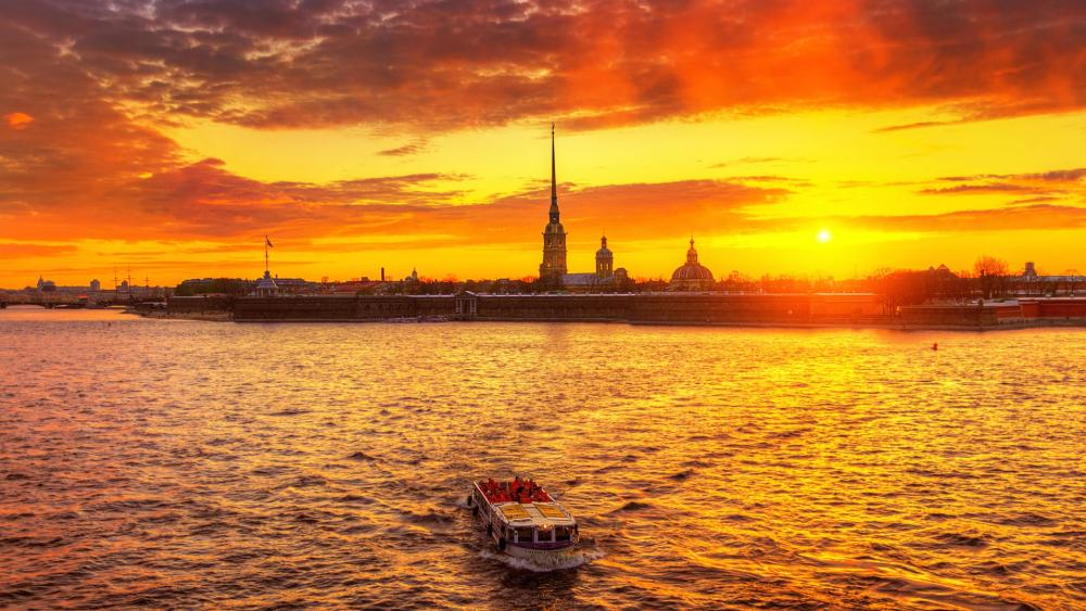 Saint Petersburg in the sunset wallpaper