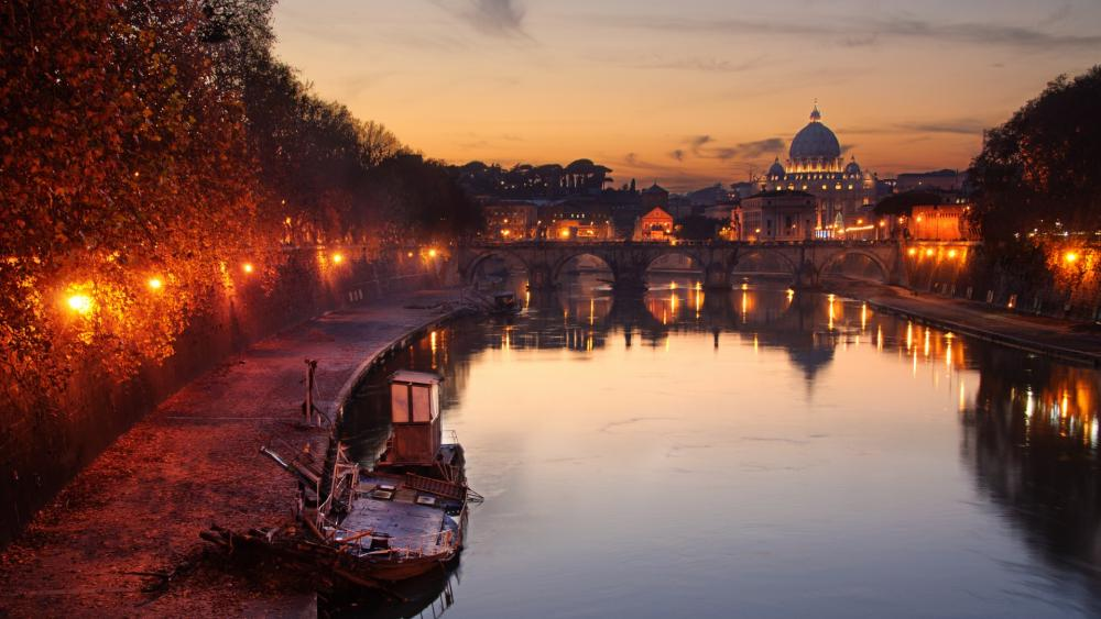 Tiber river and St. Peter Basilica in Rome wallpaper
