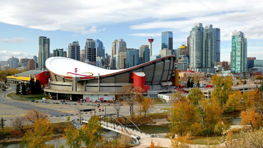 Scotiabank Saddledome & the Calgary Skyline wallpaper