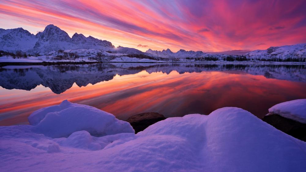 Artic sunset reflection wallpaper