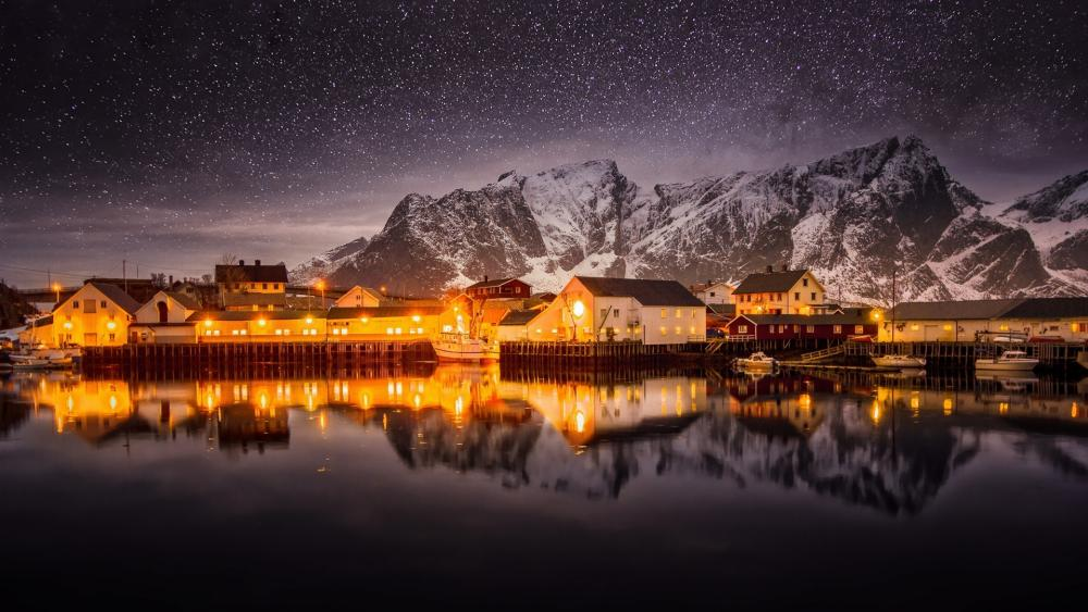 Starry nighta above Lofoten wallpaper