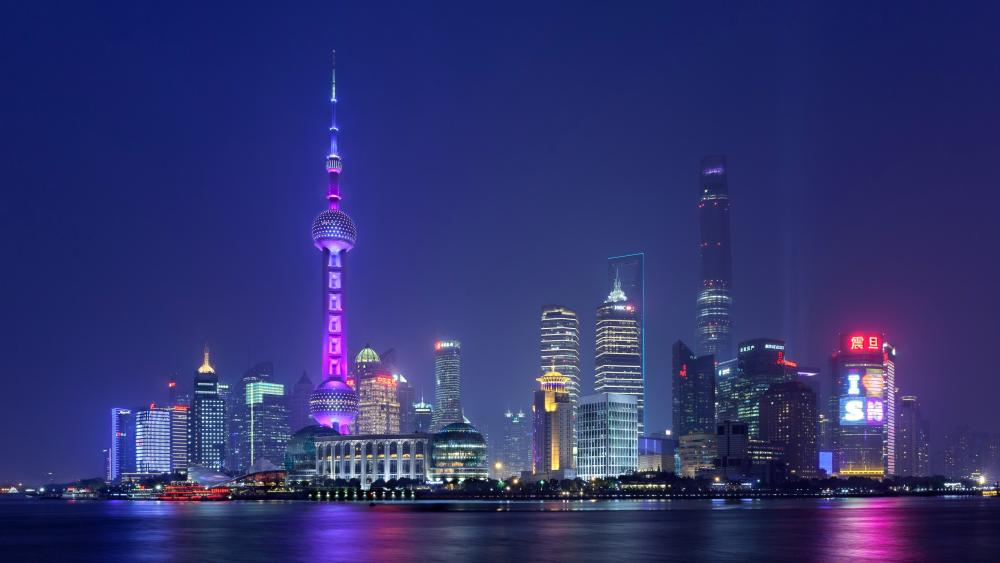 Oriental Pearl Tower on Pudong Skyline wallpaper