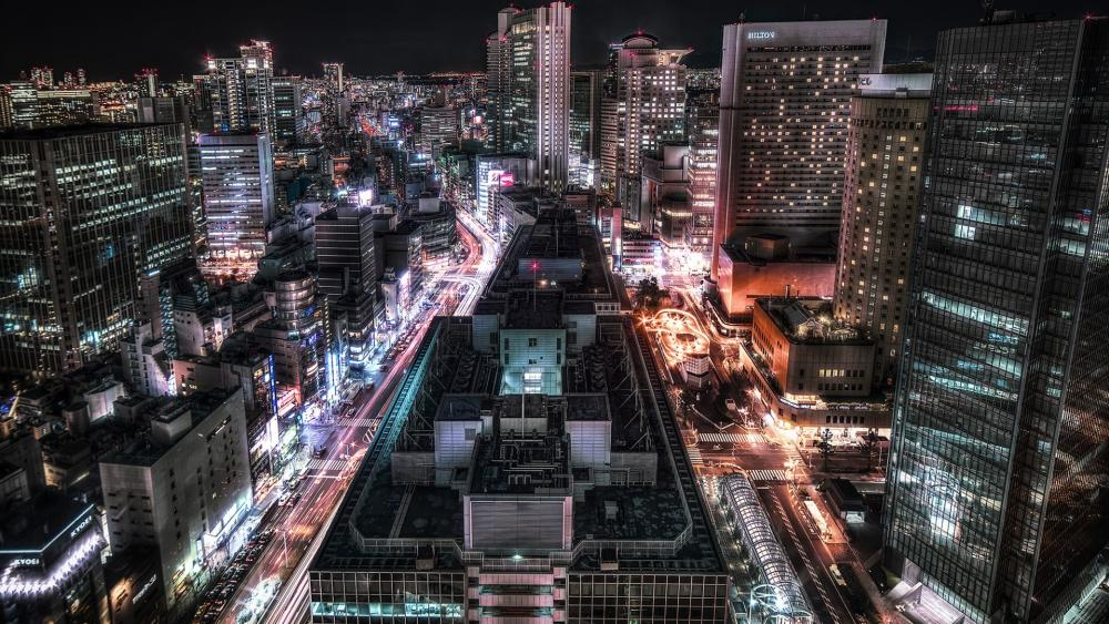 Osaka by night wallpaper