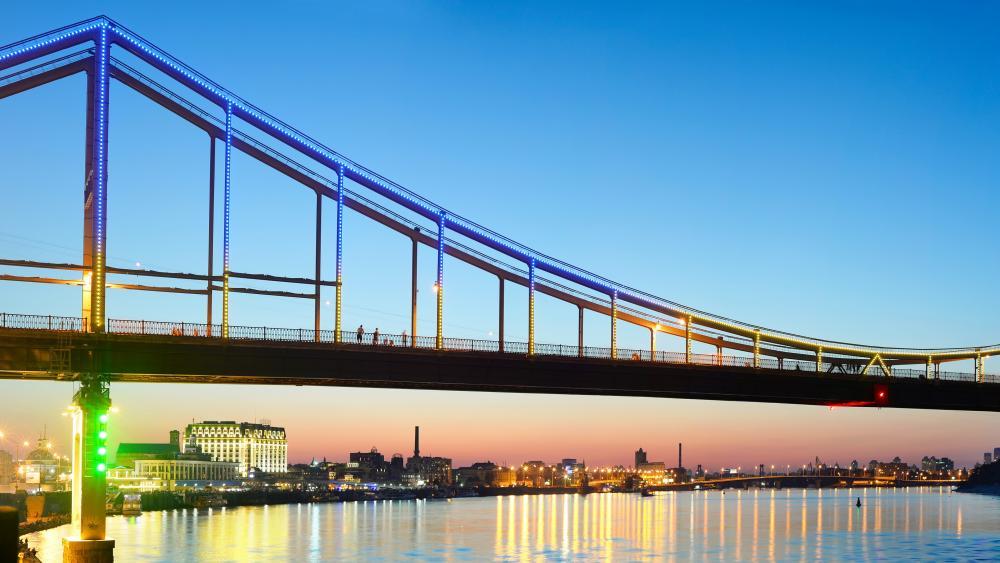 Pedestrian bridge over the Dnieper river wallpaper