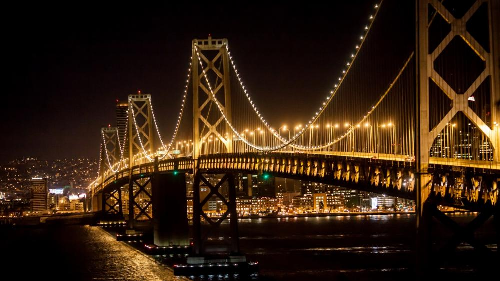 San Francisco Bridge at night wallpaper