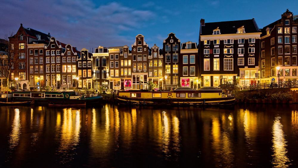 Amsterdam night lights wallpaper