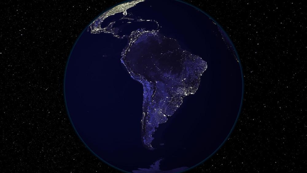 Light and Dark Image Pair: South America (Night) wallpaper