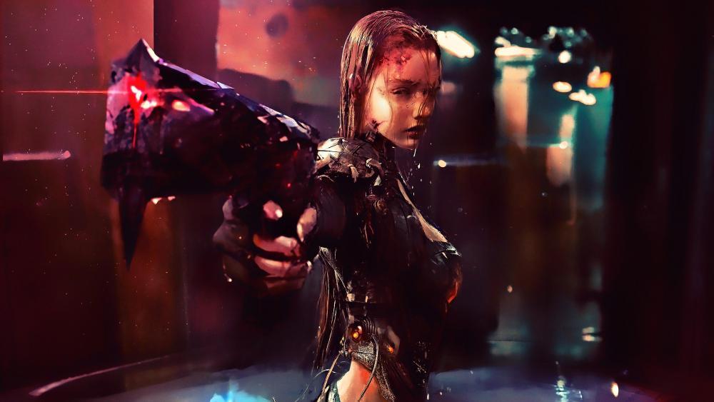 Cyberpunk warrior girl in the rain futuristic artwork wallpaper