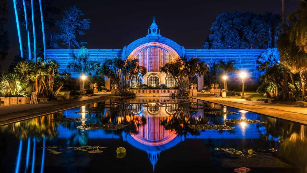 Balboa Park at night, San Diego wallpaper