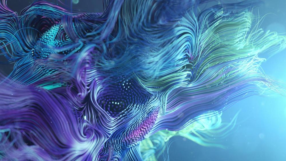 Blue fibers wallpaper