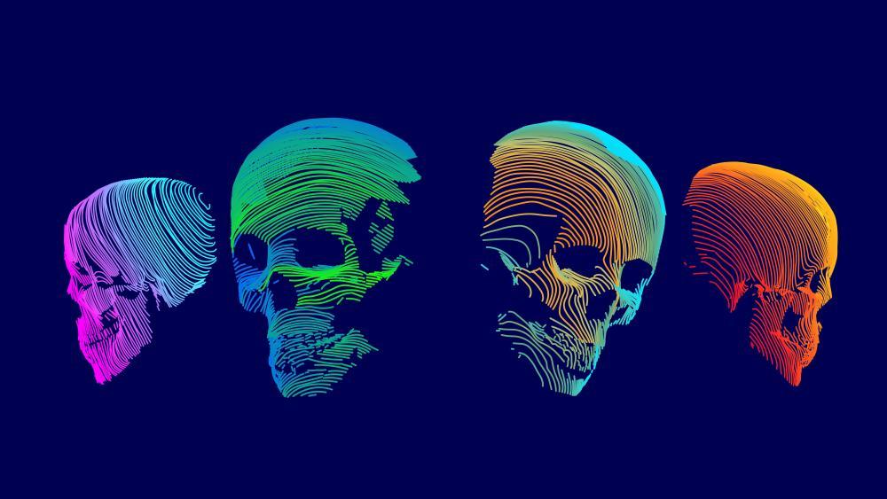 Neon skulls wallpaper