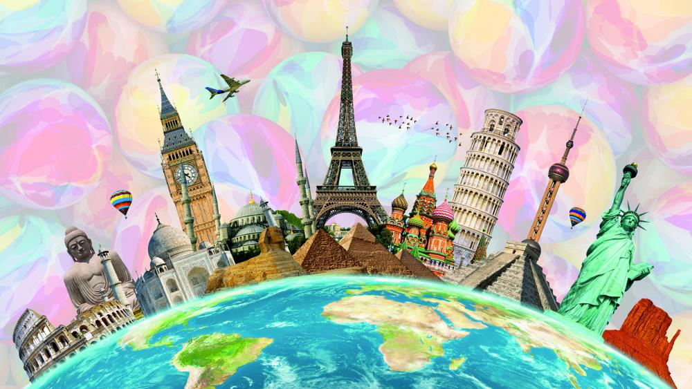 Travel around the world famous locations wallpaper