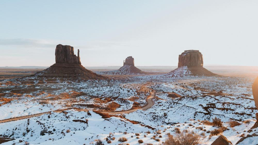 West and East Mitten Buttes at wintertime wallpaper