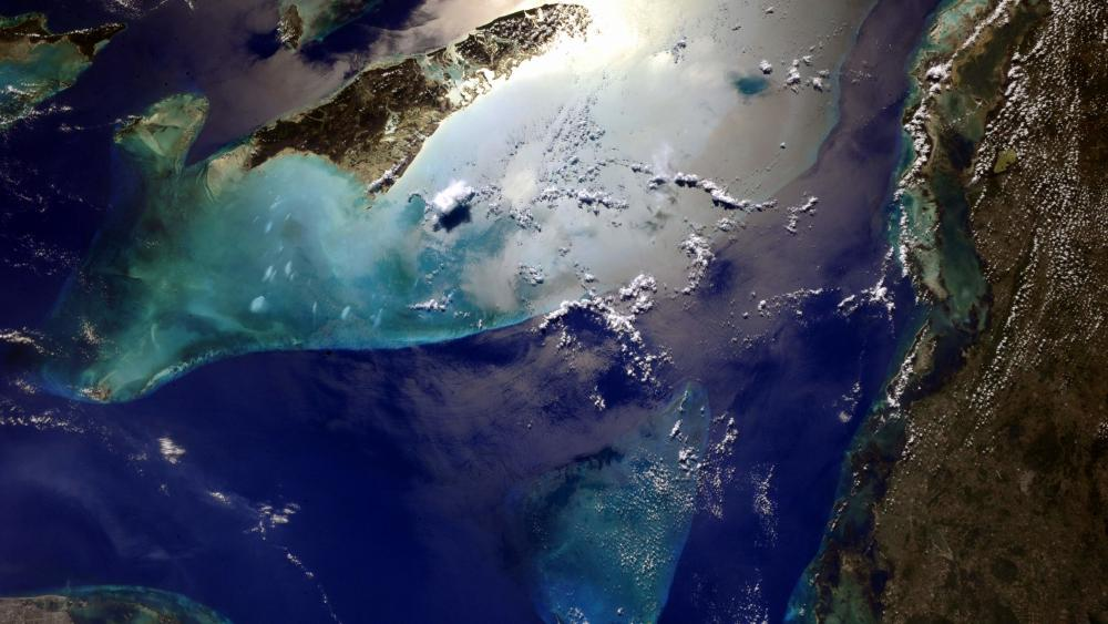 Cuba and Bahamas Islands from space wallpaper