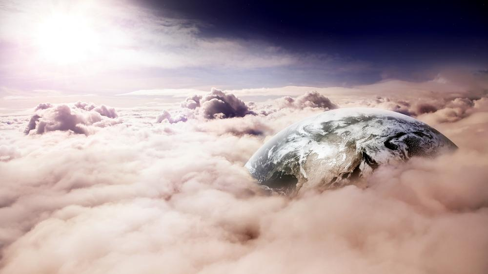 Earth among the clouds wallpaper