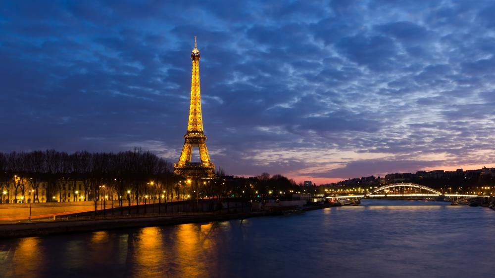 The Eiffel Tower and the Seine River wallpaper