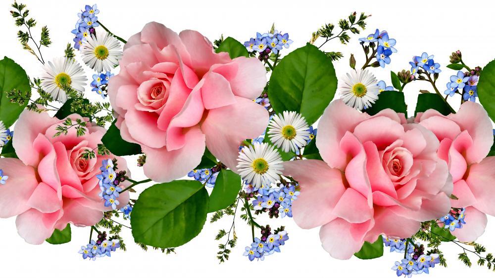 Flower garland wallpaper