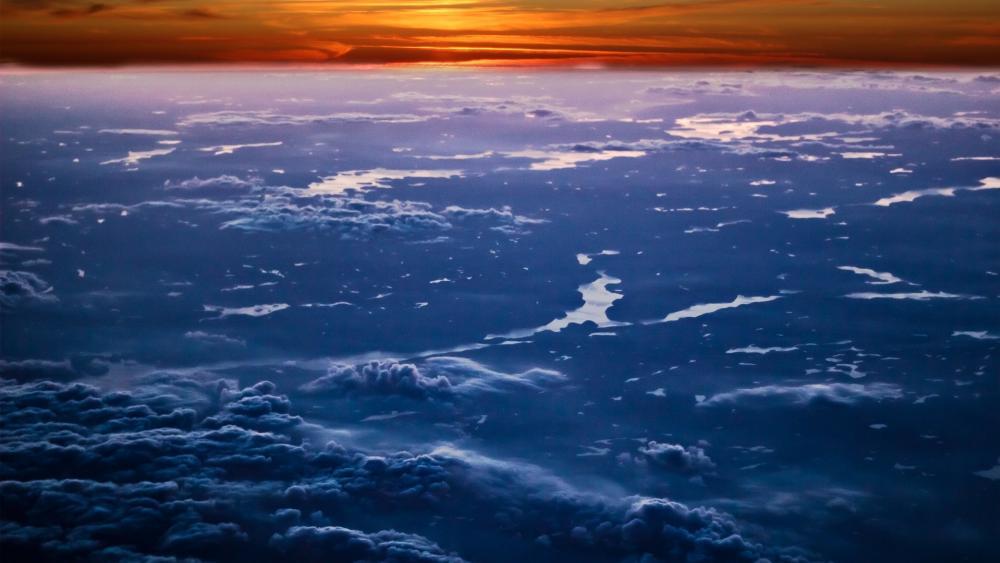 Sunset above sky wallpaper