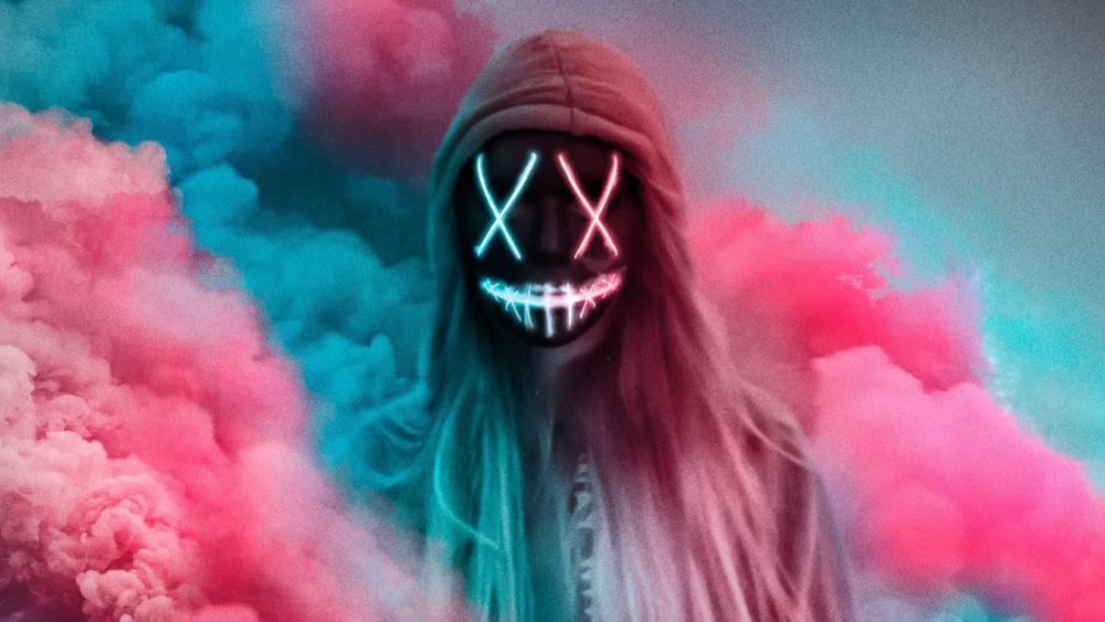 Neon masked girl in hoodie wallpaper