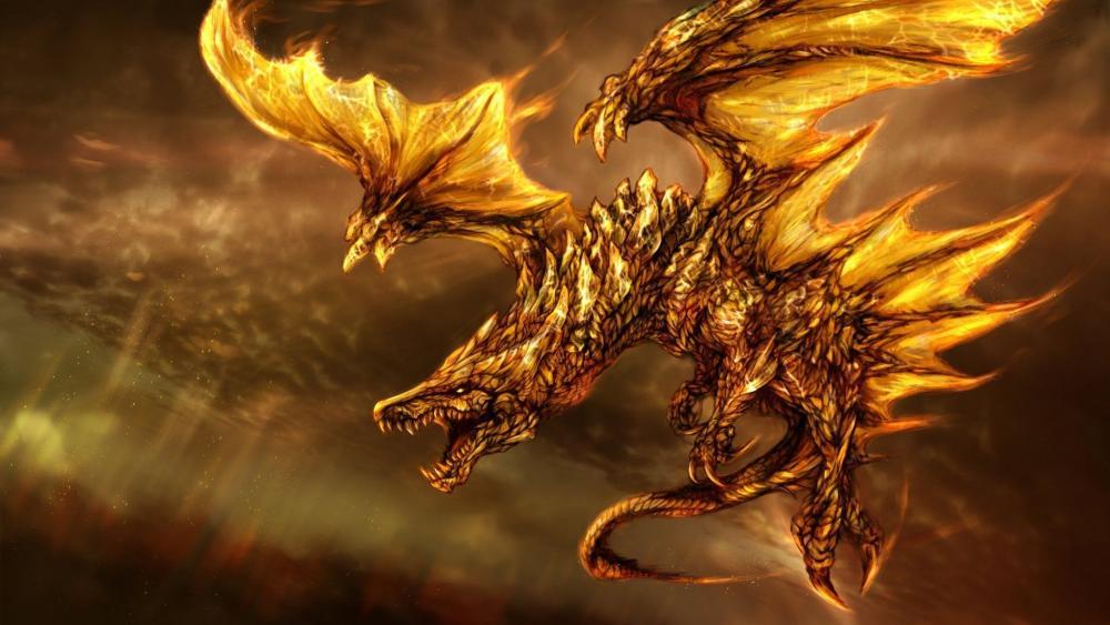 Gold dragon wallpaper