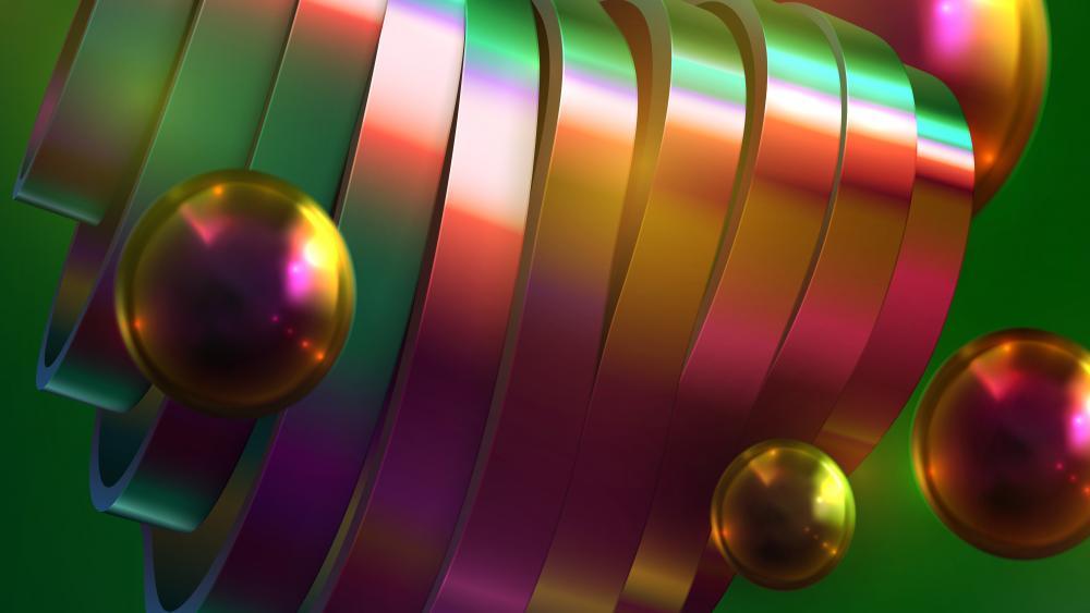 3D Metalic ribbon wallpaper