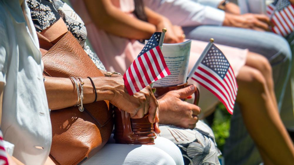 People With American Flags wallpaper