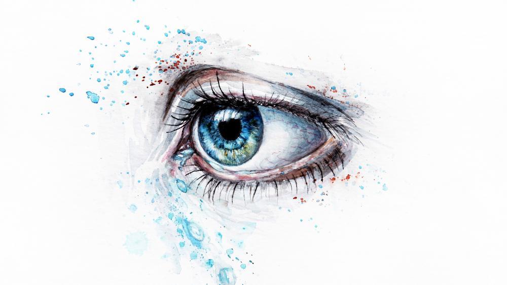Crying Blue Eye Painting wallpaper