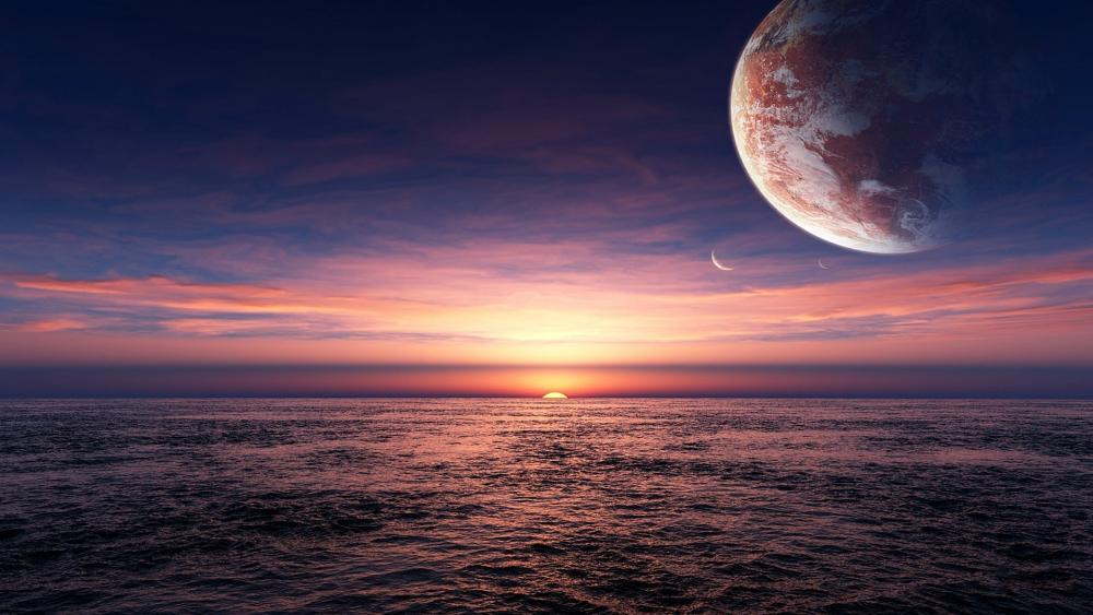 Fantasy seascape at sunset wallpaper