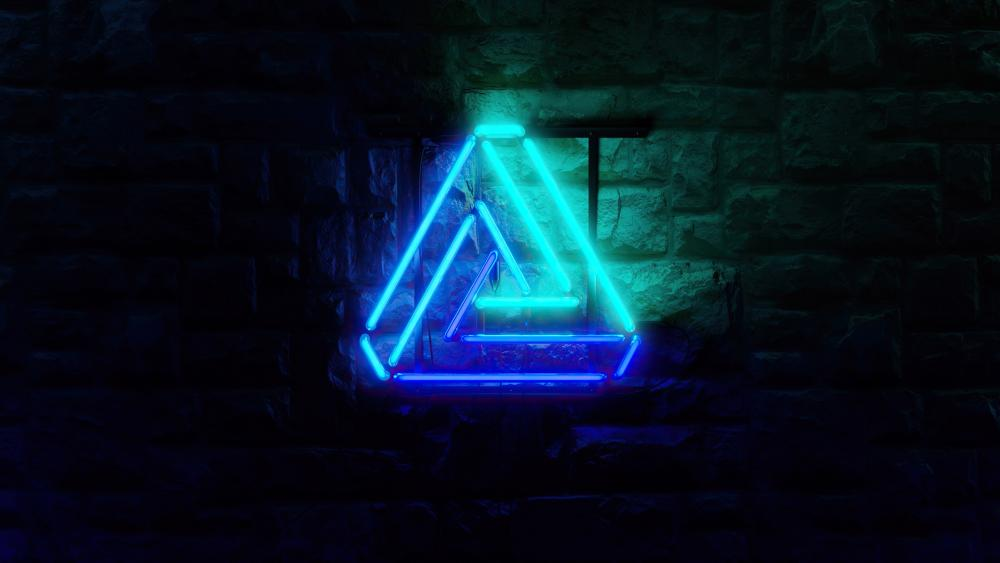 Glowing neon triangle wallpaper