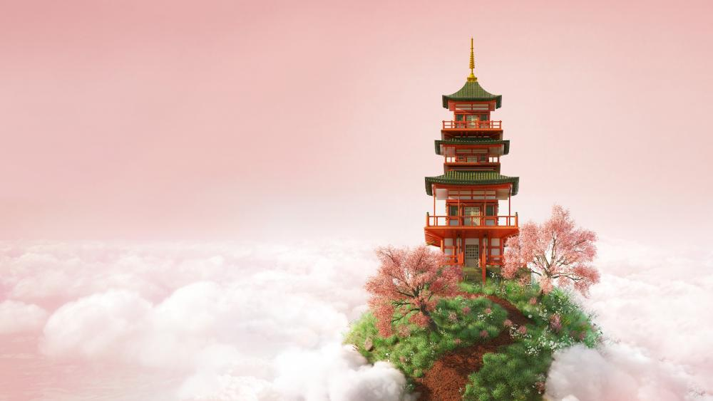 Pagoda above the clouds wallpaper