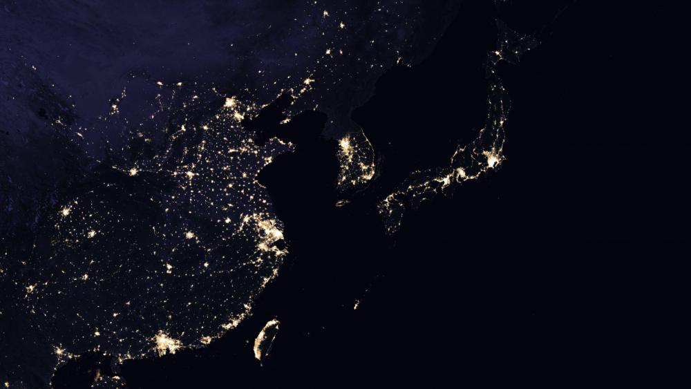 East Asia's Night Lights 2016 wallpaper