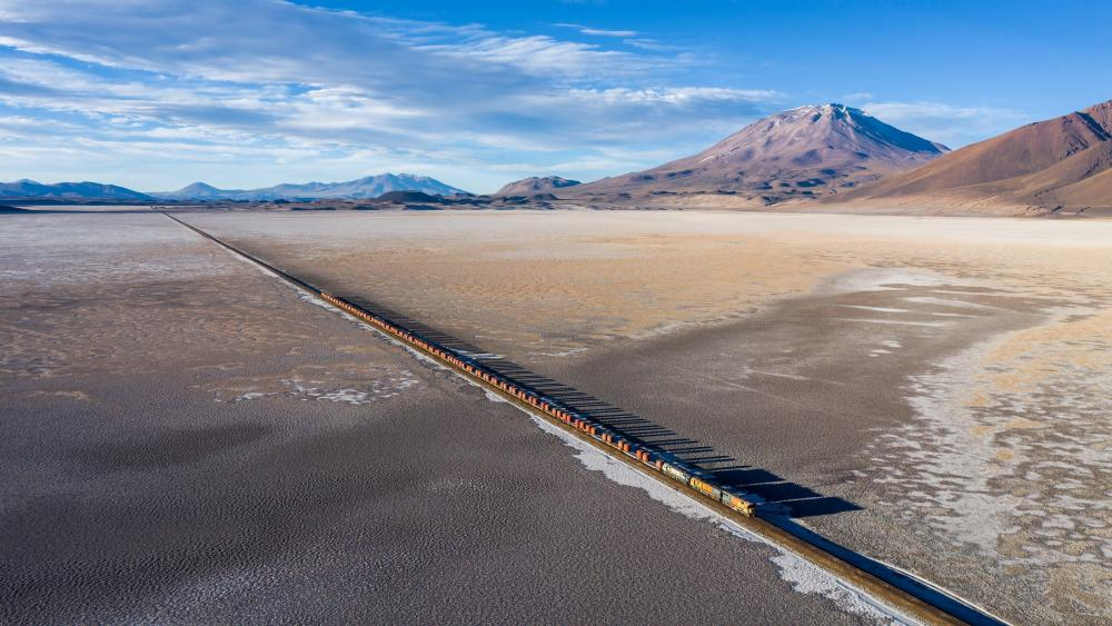 Train Crossing the Carcote Salt Flat at 3690m Above Sea Level wallpaper