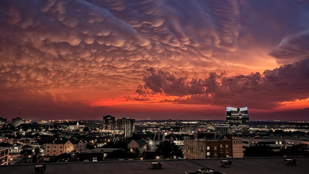 Burning sky above Fort Worth wallpaper