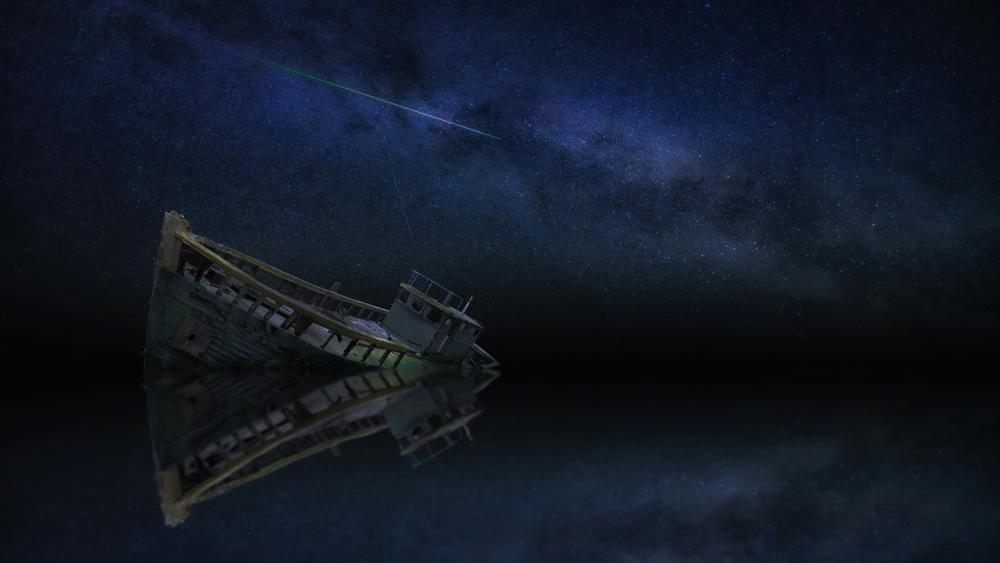 Boat wreck under the milky way wallpaper