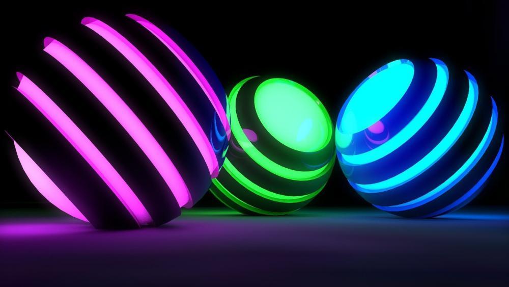 3D Luminous balls wallpaper