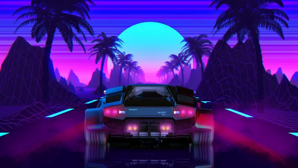 Lamborghini Countach 5000 Digital Art wallpaper